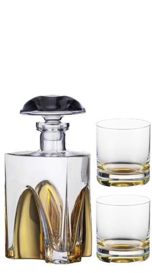 EISCH DECANTER Gold Whisky Decanter + Two Glasses Gift Set  ()